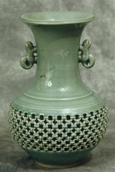 Two-Eared Double-ware Celadon Jar