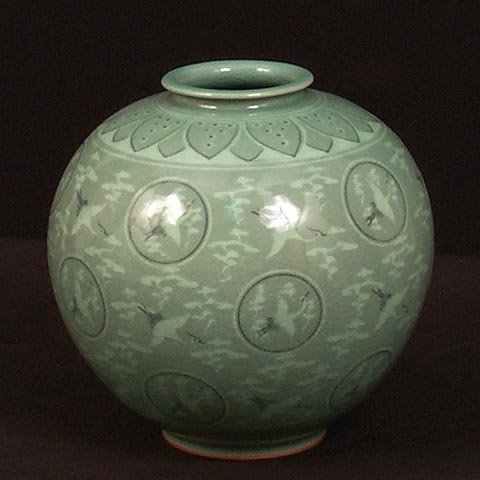 Round Crane & Cloud Celadon Jar