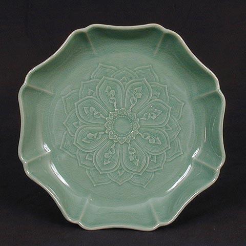 Octagonal Lotus Petals Celadon Plate