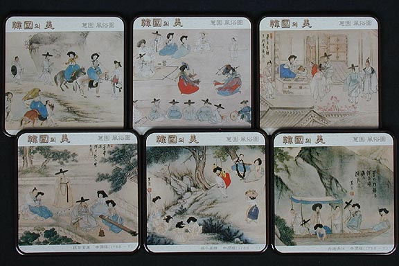 Shin Yun-bok Paintings Coasters