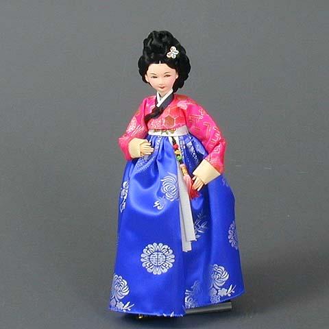 Court Lady Doll Royal Blue Dress